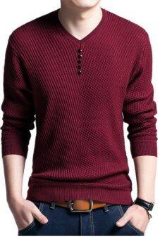 ผ้าขนสัตว์สีทึบแบบสวมชายเสื้อถักคอวีเสื้อลำลอง (ไวน์แดง)