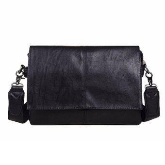 Stmartshop กระเป๋าสะพายข้างหนังใหม่ Messenger Style Bag รุ่น 6002(สีดำ)