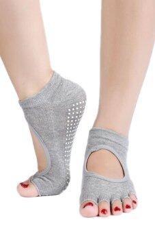 Bluelans โยคะการออกกำลังกายข้อเท้าถุงเท้าผ้าฝ้ายไว้ห้านิ้วครึ่งไม่หลุด 1 คู่สีเทา
