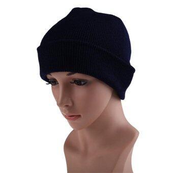 เพศบีนนี่ถักหมวกไหมพรมอุ่นไอหนาวสีกรมท่า-ระหว่างประเทศ