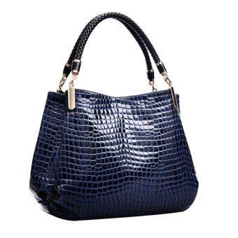 กระเป๋าถือหนังจระเข้ที่ลาย (สีน้ำเงิน)