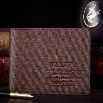 ํYateer กระเป๋า กระเป๋าสตางค์ ผู้ชาย กระเป๋าตัง กระเป๋าเงิน กระเป๋าใส่เงิน กระเป๋าใส่บัตร กระเป๋าใส่นามบัตร หนังกันน้ำ ทรงสั้น Wallet for Men Brown - WLM028