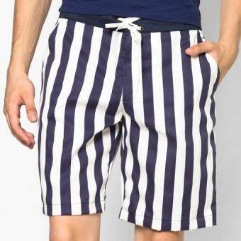 Play Hard กางเกงขาสั้น ลำลอง ลายทางสีกรมท่า - ขาว (แนวตั้ง)