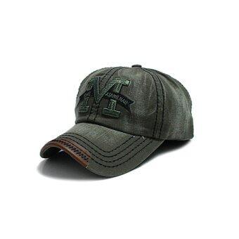 ELENXS เรโทรแฟชั่นกางเกงกีฬากลางแจ้งสำหรับบุรุษหมวกแก๊ปหมวกกีฬาเบสบอลกอล์ฟวินเทจฮิปฮอปปรับได้กองทัพสีเขียว-ระหว่างประเทศ