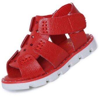 นิวแฟชั่นหน้าร้อนสาวรองเท้าแตะรองเท้าแตะหนังกลวงออก (สีแดง)