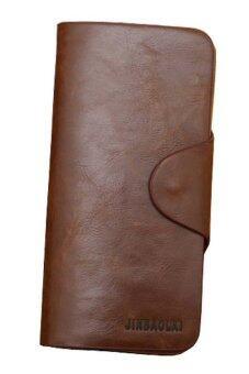 ความยาวหนังกระเป๋าสตางค์กระเป๋าบุรุษบัตรพับครึ่งเงินกาแฟคลัตช์