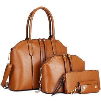 RichCoco กระเป๋าแฟชั่นเกาหลี + กระเป๋าสตางค์ผู้หญิง + กระเป๋าสะพายข้าง +กระเป๋าใส่พวงกุณแจ เซ็ต 4 ใบ(สีน้ำตาล)