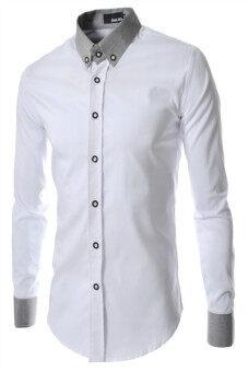 Reverieuomo CS29 เดี่ยวกระดุมเสื้อเชิ้ตขาว