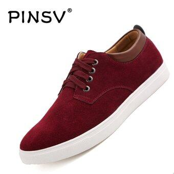 Harga PINSV Leather Men's Casual Shoes Fashion Sneakers Plus Size 38-49 (Red) - intl