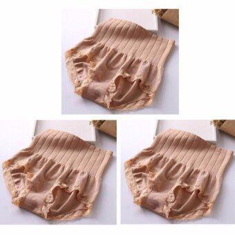 Munafie กางเกงในกระชับสัดส่วน กางเกงในเก็บพุง (สีดำ)_(Brown)- 3 ตัว