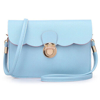 กระเป๋าสะพายสตรีกระเป๋าถือเครื่องหนังของคลัตช์ตายเงินกุ๊ยสารสีน้ำเงิน-ระหว่างประเทศ