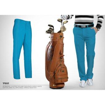 EXCEED กางเกงกอล์ฟสำหรับสุภาพบุรุษ PGM สีฟ้า (KUZ005) Genuine Top Design Golf Pants Ultra Thin Men Summer Slim Fashion Trousers (BLUE)