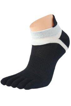 Sanwood คนกีฬาถุงเท้าผ้าฝ้ายผสมห้านิ้วสีดำ 1 คู่