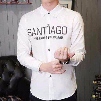 SAVE เสื้อเชิ้ตแฟชั่น เสื้อเชิ้ตผู้ชาย กระดุมหน้า (สีขาว) รุ่น 098