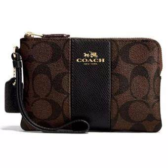 Harga COACH CORNER ZIP WRISTLET IN SIGNATURE F58035 (IM/Brown/Black)