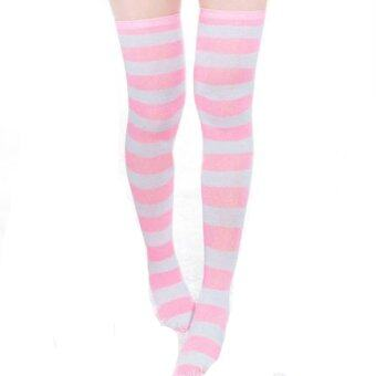 Harga ZANZEA Sexy Women Thigh High Striped Over the Knee Socks Cotton Stockings