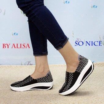 Alisa Shoes รองเท้าสปอร์ตแฟชั่น รุ่น HR046 Black Grey