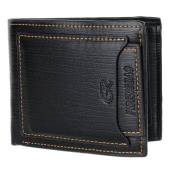 C-H1002 กระเป๋าสตางค์หนัง Cowhide แท้ สีดำ