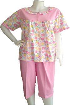 ชุดนอนลาโรเรล เสื้อคอระบายแขนสั้น/กางเกงขา 4 ส่วน ลายดอกไม้ ฟรีไซร์