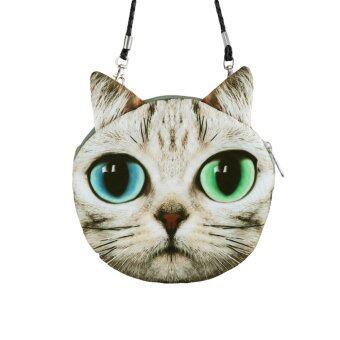 กระเป๋าสะพายไหล่ สะพายข้าง พิมพ์ลายหน้าแมว แฟชั่นสตรี
