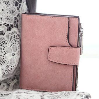 ลาวีขัดหนังสตรีกระเป๋าสตางค์เหรียญเงินที่เก็บบัตรการออกแบบ (สีชมพูอ่อน)