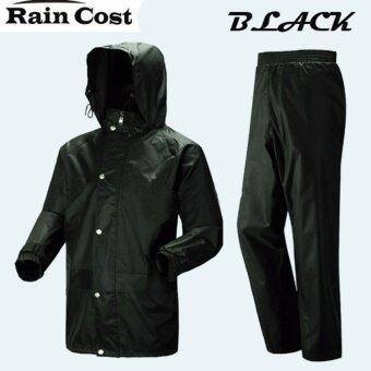 ชุดกันฝน เสื้อกันฝน มีแถบสะท้อนแสง (เสื้อแบบมีฮูท+กางเกง+กระเป๋าใส่) - ดำ