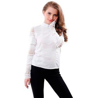 นิวแฟชั่นฤดูใบไม้ร่วงหญิงสาวสวมเสื้อตัดแขนยาวเสื้อเชิ้ตขาวสวมเสื้อลูกไม้เสื้อทำงานสาวออฟฟิศ