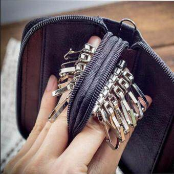 MATTEO กระเป๋าใส่กุญแจ กระเป๋าใส่พวงกุญแจ Double Side 12 ดอก - Black