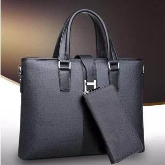 Peimm Modello กระเป๋าสตางค์ + กระเป๋าถือ กระเป๋าสะพาย Note Book Business Men - Multifunction (สีเทาเข้ม)