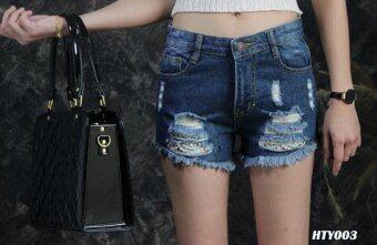 Platinum Fashion กางเกงยีนส์ขาสั้นเอวสูงปกติ แต่งขาด รุ่นHTY003