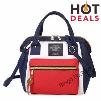wonderful story 3 in 1 Women Bag Top Handle Bag Women Backpack กระเป๋าสะพายไหล่ กระเป๋าเป้สะพายหลัง -(bluered)