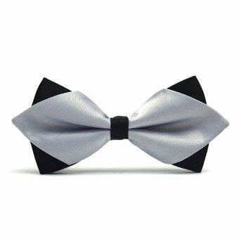 Harga 2017 New Fashion Bow Ties for Men Romantic Wedding Party Bowtie Club Anniversary Butterfly Bow Tie with Gift Box PLT10 (Silver) - intl