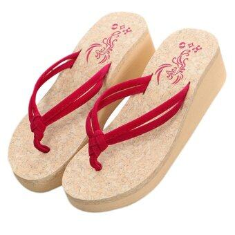 แฟชั่นฤดูร้อนหลากสไตล์ผู้หญิงขายตัวกันลื่น Flip Flops สีแดง