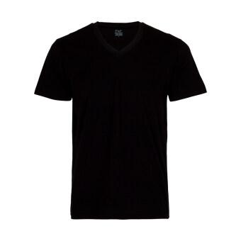 F&F เสื้อคอวี ชาย สีดำ แพ็ค 1 ตัว