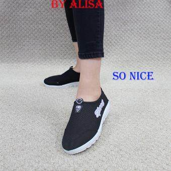 Alisa Shoes รองเท้าผ้าใบแฟชั่น รุ่น 9917 Black