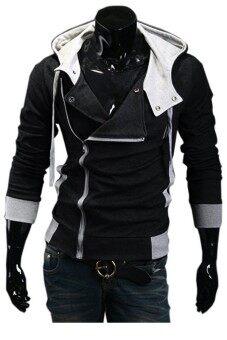 ชายร่างผอมสวมเสื้อฮู้ดซิปเฉียง (สีดำ)