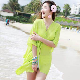 Harga Summer Women Fashion Candy Color Pure Color Variety Chiffon Beachwear Pearl Button Yarn Clothing Sun Clothes (Aqua) - intl
