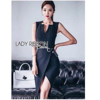 Elisa Thailand เสื้อผ้าแฟชั่นสไตล์เกาหลี Lady Mandy Elegant Chic Side-Sling Midi Dress