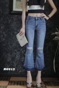 Platinum Fashion กางเกงยีนส์ขายาวเอวสูง ขาม้า แต่งขาด รุ่นRG613