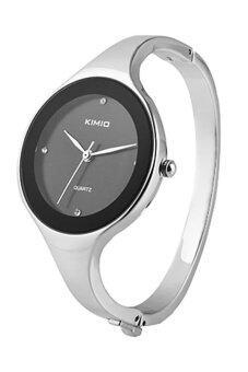 Sanwood กำไลสร้อยข้อมือนาฬิกาผู้หญิงของผลึกสีดำ