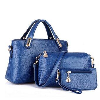 3ชิ้นกระเป๋าถือกระเป๋าสะพายไหล่หญิงสาวตายเงินนำหนังชุดสีน้ำเงิน-ระหว่างประเทศ