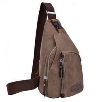 good กระเป๋าคาดอก Size L(35x20x7cm) Travel Shoulder Bag มี 3 ช่อง - Khaki/กากี