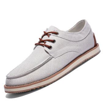 PINSV Men Fashion รองเท้าลำลองรองเท้าตัดต่ำปักขึ้น (ขาว)