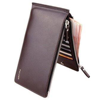 Matteo กระเป๋าใส่เช็ค กระเป๋าเงิน กระเป๋าหนัง กระเป๋าใบยาว Double Zip (สีน้ำตาล)