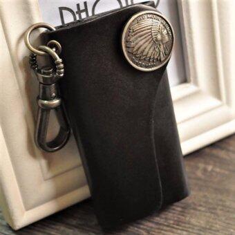 Trusty กระเป่าใส่พวงกุญแจ พวงกุญแจหนังแท้ สไตล์ Retro 1752 - Black
