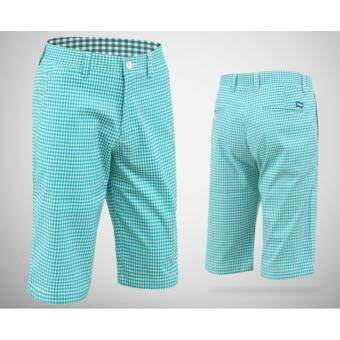 EXCEED กางเกงกอล์ฟขาสั้น KUZ010 #3 สีลายตาข่ายสีเขียว PGM Men's Golf Short Gentleman Plaid Quick Dry Sport Trousers Summer Breathable Short XXS-3XL GREEN COLOUR