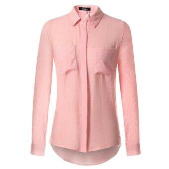 เพลงผ้าสบาย ๆ แขนเสื้อยาวผู้หญิงผสมผสานกับเสื้อเชิ้ตปล่อยชายลงปุ่มรูปเสื้อ S...XXl (สีชมพู)