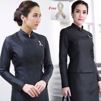 Dokpikul-ชุดผ้าไหมไทยจิตรดา ทรงไทยบรมพิมาน ซิปหลัง ไหล่เรียบ ชุดงานศพพระราชทาน งานราชพิธี-สีดำ(Int:S)