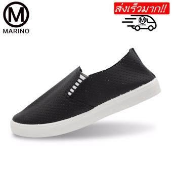 Marino รองเท้าผ้าใบแบบยาง รองเท้ายางยืดแบบสวม รองเท้าแฟชั่น No.A016 - Black