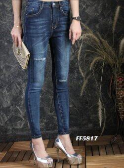 Platinum Fashion กางเกงยีนส์ขายาวเอวสูง ทรงสกินนี่ แต่งขาดไม่โชว์เนื้อ รุ่นFF5817